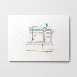 Vintage White 1805 Sewing Machine with Aqua Spool Metal Print