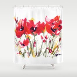 Red Poppy Graphic Shower Curtain
