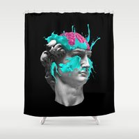 dave grohl Shower Curtains featuring Dave Brain by CORSAC / Julien Missaire