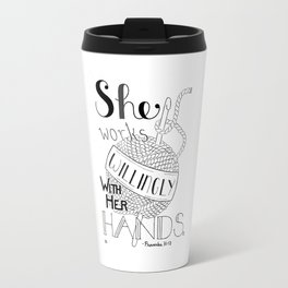 Crochet Willingly, Crochet Quote Travel Mug