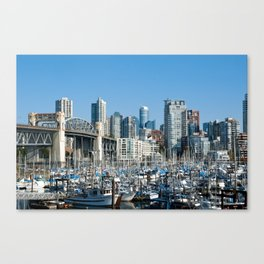 Vancouver Skyline From Harbor Canvas Print