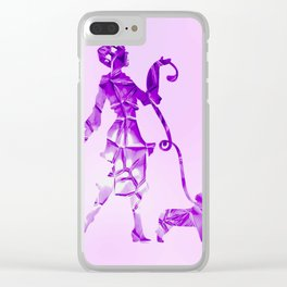 Purple glam lady & dog super plastic fantastic Clear iPhone Case