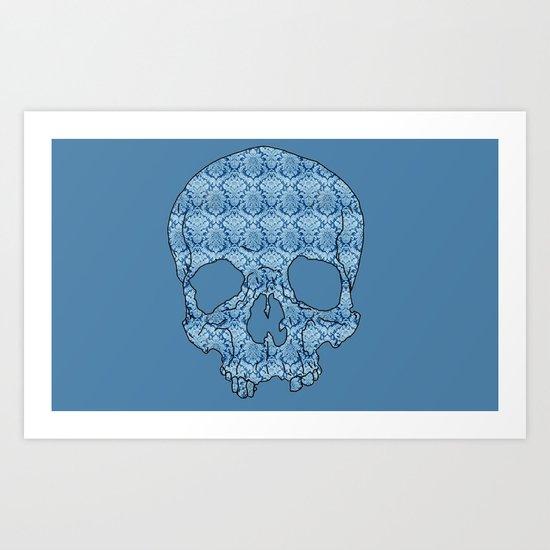 Vintage blue skull Art Print
