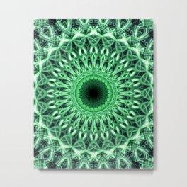 Detailed mandala in green tones Metal Print