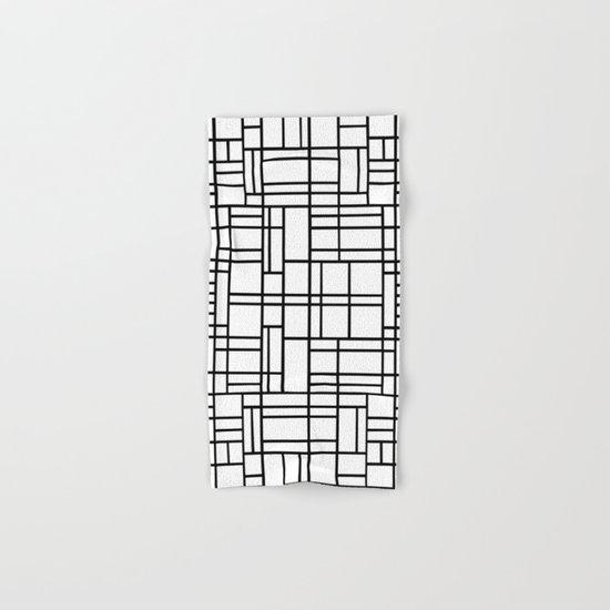 Map Outline Black on White Hand & Bath Towel