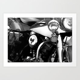 Vintage  Black & White HD Motorcycle Art Print