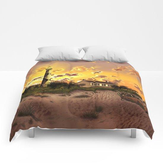 lighthouse landscape sky Comforters