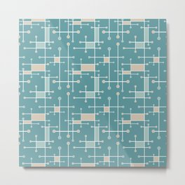 Intersecting Lines in Teal, Tan and Sea Foam Metal Print