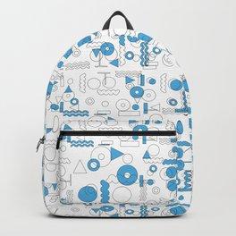 Blue White Geometric Shapes Backpack