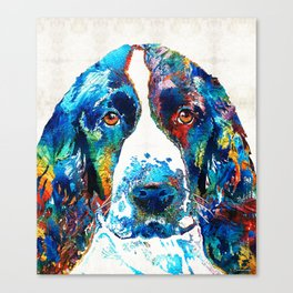 Colorful English Springer Spaniel Dog by Sharon Cummings Canvas Print