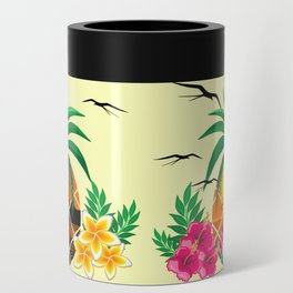 Pineapple Tropical Sunset, Palm Tree and Flowers Can Cooler