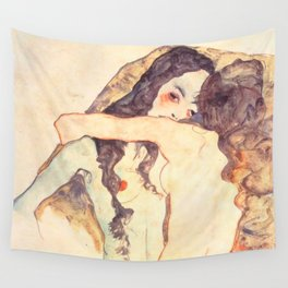 "Egon Schiele ""Two women embracing"" Wall Tapestry"