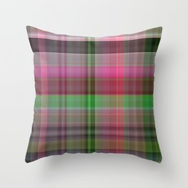 Pink Roses in Anzures 6 Plaid 1 Throw Pillow