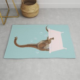 Brachiosaurus in Bathtub Rug