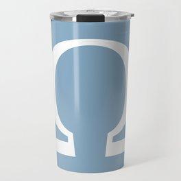 Greek letter Omega sign on placid blue background Travel Mug