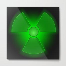 Funny green glowing radioactivity symbol Metal Print
