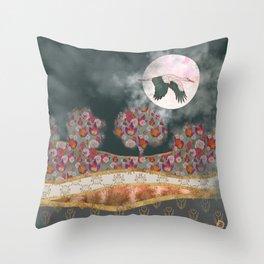 Moonlight Stork Throw Pillow