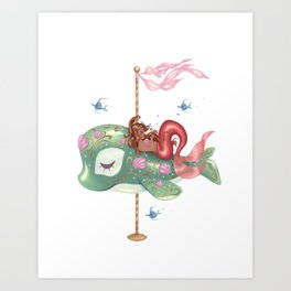 Mermaid Carousel - The Whale Art Print