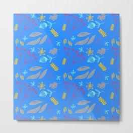 Blue Botanical Pattern Metal Print