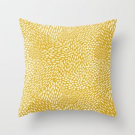 Abstract Brush Strokes, Mustard Yellow Throw Pillow