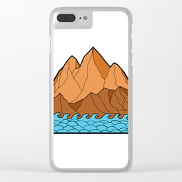 Ragged Mountain Waves Mono Line Clear iPhone Case