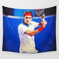tennis Wall Tapestries featuring Federer Tennis by BixAri