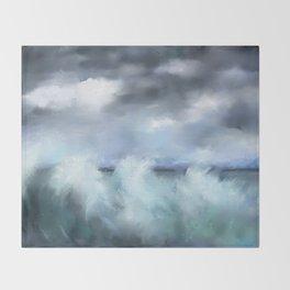 Turquoise Stormy Sea Throw Blanket