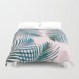 Green Palm Leaves on Light Pink Duvet Cover