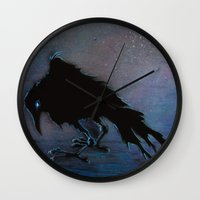 raven Wall Clocks featuring Raven by Christine's heART