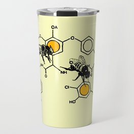 Bees making honey on macromolecular structure as a bee house  Travel Mug