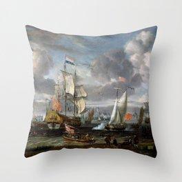 Abraham Storck - An English Yacht saluting a Dutch Man-of-War in the port of Rotterdam (1708) Throw Pillow