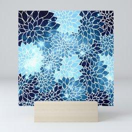 Space Dahlias Blue Ice Mini Art Print