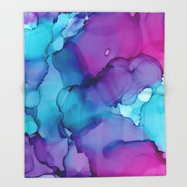 Alcohol Ink - Wild Plum & Teal Throw Blanket
