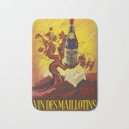 Vintage Vins Des Maillotins Wine Vineyard Poster Bath Mat