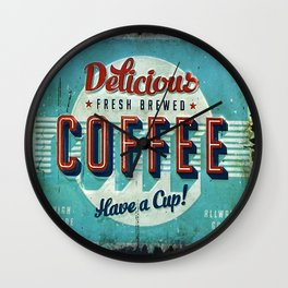 Vintage Style Coffee Sign Wall Clock