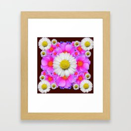 Colorful Fuchsia Rose Bouquet Garden Shasta Daisies Framed Art Print