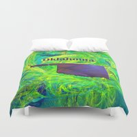 oklahoma Duvet Covers featuring Oklahoma Map by Roger Wedegis