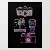 cameras Art Prints featuring Cameras by Sara Wilson