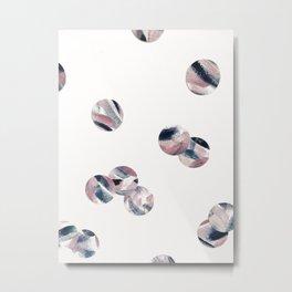 Random Pink and Navy Polka Dots Metal Print
