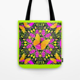 Modern Yellow Butterfly Chartreuse-Green Pattern Pink Art Tote Bag