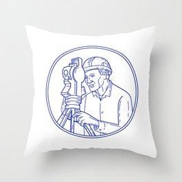 Surveyor Theodolite Circle Mono Line Throw Pillow