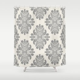 Floral Damask Pattern – Neutral Medium Gray and Light Beige Shower Curtain