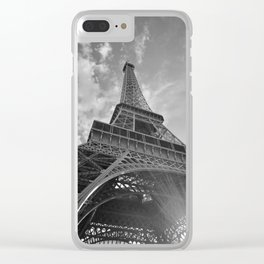 Black and White Eiffel Tower Clear iPhone Case