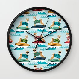 shiba inu surfing dog breed pattern Wall Clock