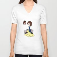 beauty and the beast V-neck T-shirts featuring Beauty and the Beast by Little Moon Dance