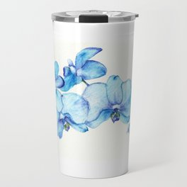 Blue Orchids Two - Watercolor Travel Mug
