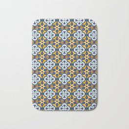Yellow and Blue Moroccan Tile Bath Mat