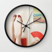 terry fan Wall Clocks featuring Fan by Kelly Nicolaisen