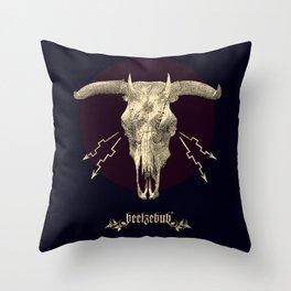 Beelzebub - Evil and dark skull with devil horns. Throw Pillow