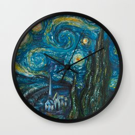 Modern interpretation of Vincent Van Gogh's scene of The Starry Night. Wall Clock